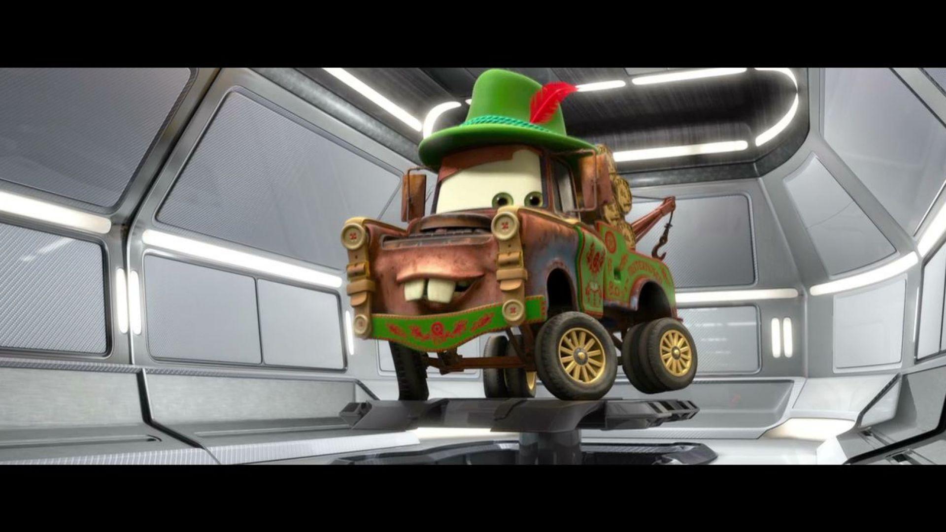 Disguise program initiated. Mater wearing Materhosen, Cars 2