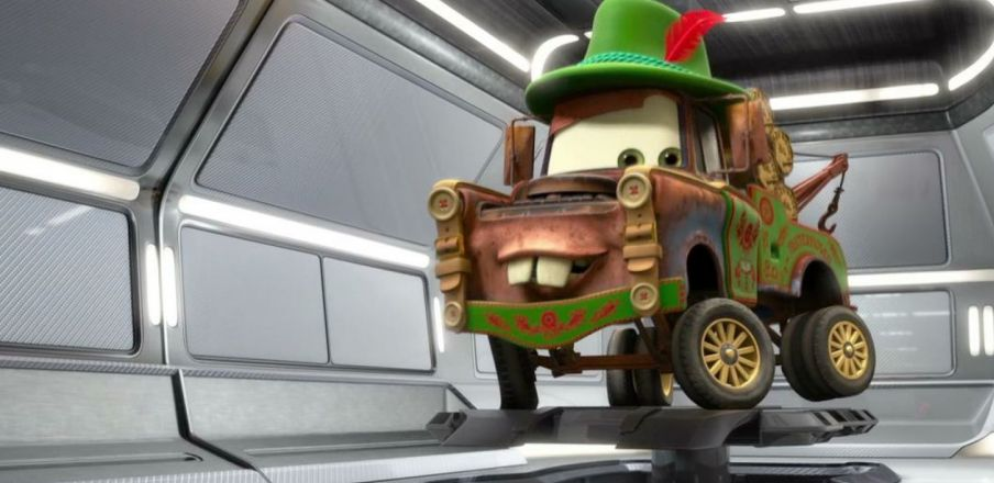 Disguise program initiated. Mater wearing Materhosen, Cars 2