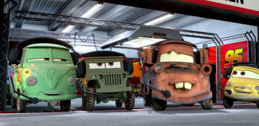 Instead of saying ka-chow, he's gonna go ka-boom! Cars 2
