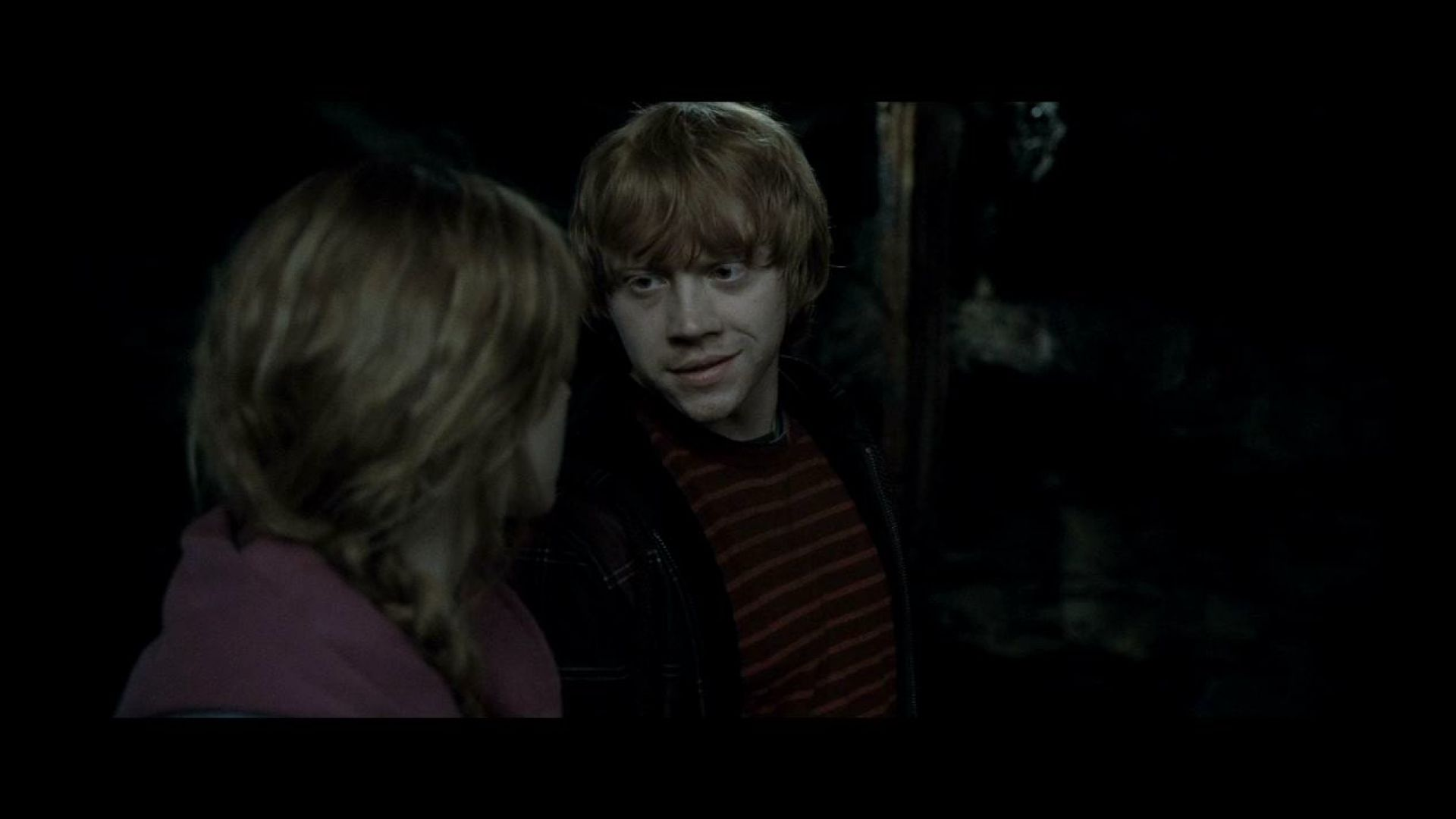 Hermione and Ron go into the Chamber of Secrets to destroy Helga Hufflepuff's cup