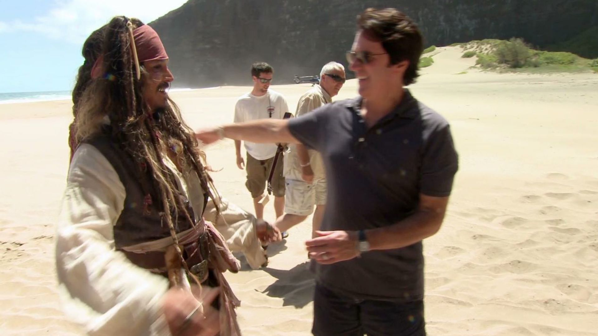 Johnny Depp arrives at Pirates 4 set by Helicopter