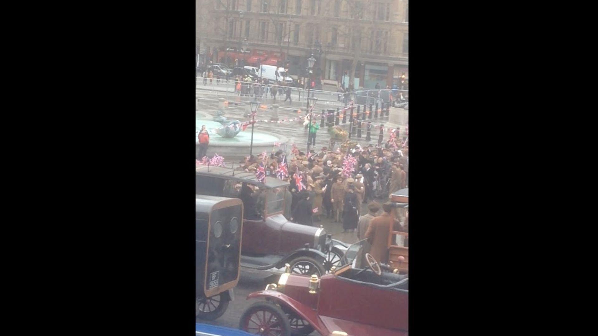 Set Footage from Wonder Woman at Trafalgar Square, London