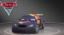 Purple and sporting a big tail, Max Schnell turns around in Cars 2