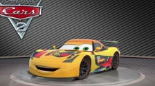 Red, yellow and orange. This is Miguel Camino in Cars 2