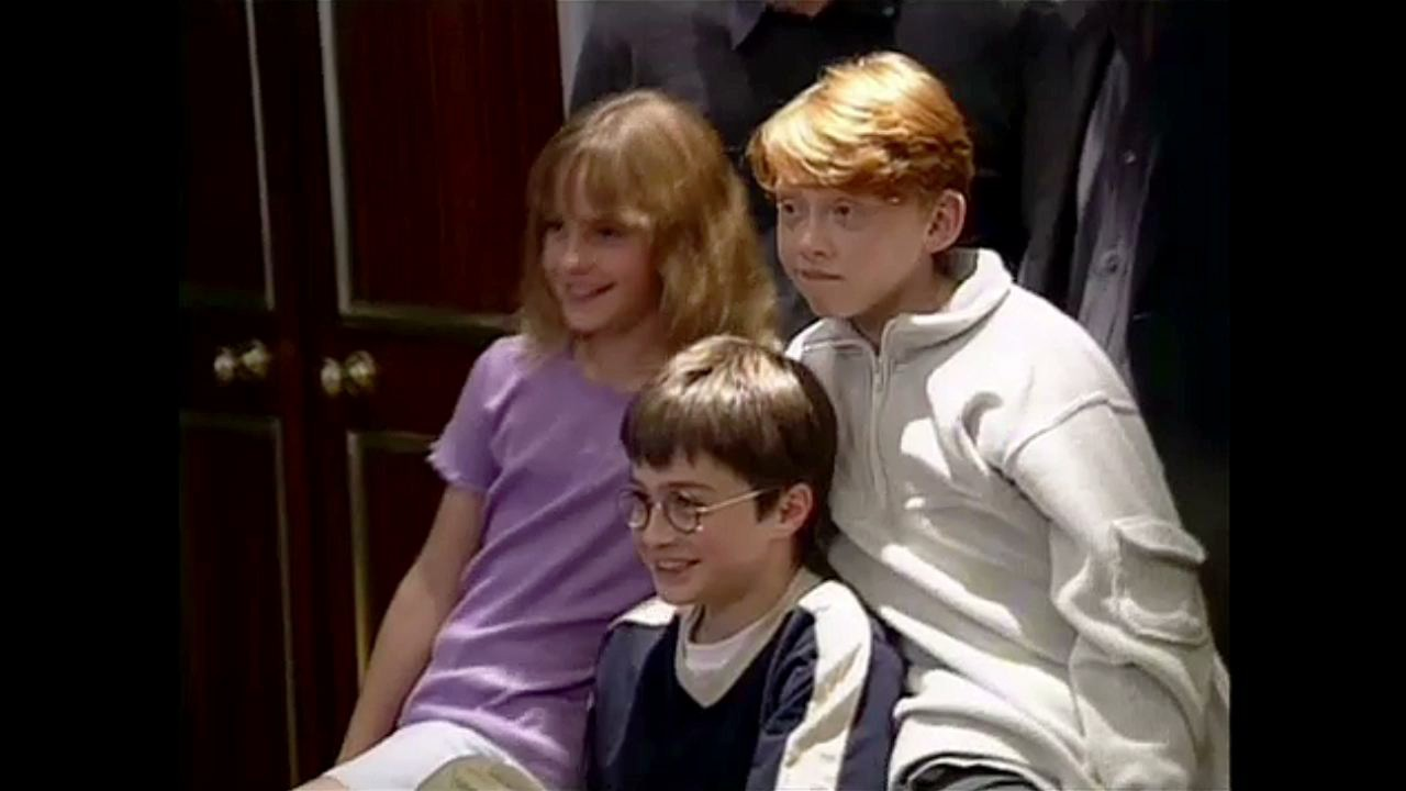 the first harry potter press conference where daniel, rupert and emma are introduced HD